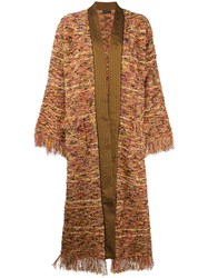 Etro Fringed Oversized Coat Brown