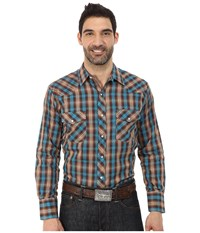 Roper 0105 Brown Blue Plaid Brown Men's Clothing