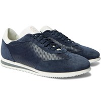 Brunello Cucinelli Suede Trimmed Perforated Leather Sneakers Blue