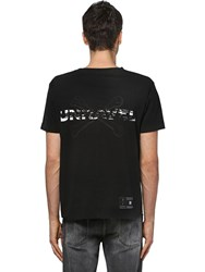 Unravel Printed Cotton Jersey T Shirt Black