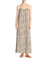 Vince Vintage Floral Shirred Silk Maxi Tank Dress Natural Multi