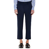 Gucci Men's Wool Mohair Slouchy Crop Trousers Navy