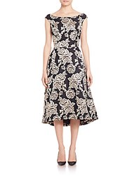 Dawn Levy Platinum Flared Brocade Dress Black