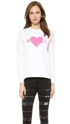 Rodarte Rohearte Sweatshirt With Pink Heart White Hot Pink