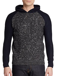 Sovereign Code Colorblock Cable Knit Hoodie Charcoal