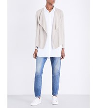 The White Company Textured Wool And Cashmere Blend Cardigan Taupe Marl