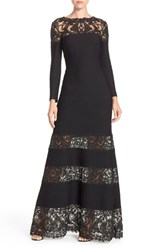 Women's Tadashi Shoji 'Jacky' Long Sleeve Illusion Lace And Pintuck Jersey Gown