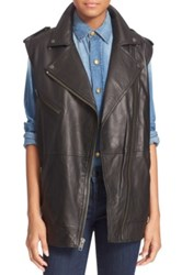 Current Elliott 'The Moto Infantry' Lambskin Leather Vest Black