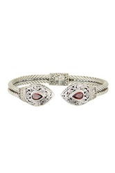 Phillip Gavriel 18K Yellow Gold And Sterling Silver Designer Cuff Bangle With Garnet Teardrop Ends Red