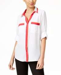 Ny Collection Colorblocked Utility Blouse White Combo