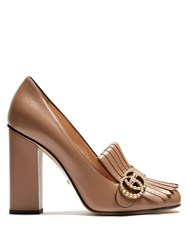 Gucci Marmont Fringed Leather Pumps Nude