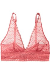 Else Boomerang Stretch Lace Soft Cup Triangle Bra Coral