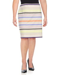 Lord And Taylor Plus Sunset Stripe Pencil Skirt Striped