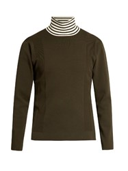 Tomorrowland Striped High Neck Wool Blend Sweater Khaki