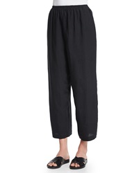 Eskandar Japanese Cropped Trousers Black
