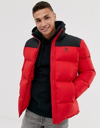 Converse Logo Red Puffer Jacket Red