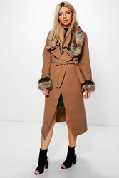 Boohoo Faux Fur Collar And Cuff Coat Camel