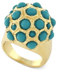 Bcbgeneration Gold Tone Blue Bead Ball Ring