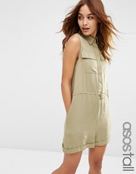 Asos Tall Utility Slouch Playsuit Khaki Green