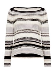 Oui Chunky Multi Stripe Jumper Light Grey