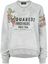 Dsquared2 Flower Patch Logo Sweatshirt Grey