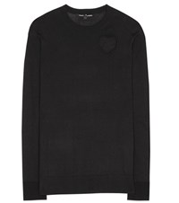 Proenza Schouler Cotton And Silk Heart Cutout Pullover Black