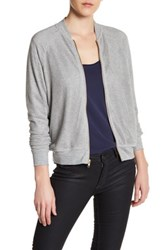 Harlowe And Graham Knit Mesh Bomber Jacket Gray