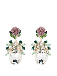 Dolce And Gabbana Crystal Embellished Floral Drop Earrings Purple