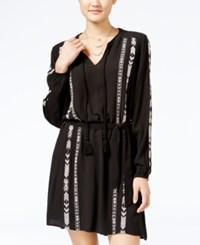 Jessica Simpson Arielle Embroidered Peasant Dress Black White