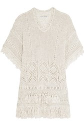 Alice Olivia Janine Fringed Open Knit Sweater Ecru