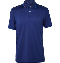 Rlx Ralph Lauren Perforated Stretch Jersey Golf Shirt Blue