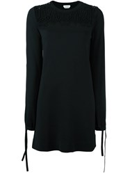Chloe Embroidered Lace Panel Dress Black