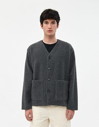 Our Legacy Oversized Wool Cardigan In Shaggy Grey
