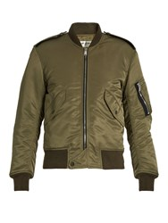 Saint Laurent Padded Bomber Jacket Khaki