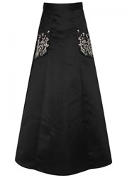 Temperley London Glen Embellished Satin Skirt Black And Silver