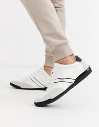 Boss Saturn Low Suede Trim Trainers In White