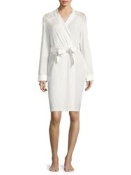 La Perla Romance Lace Accented Short Robe White Milk