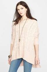 Free People Easy Cable V Neck Sweater Champagne