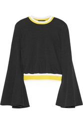 Ellery Immortal Stretch Knit Trimmed Cotton Sweater Black