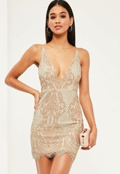 Missguided Pink Lace Plunge Strappy Bodycon Dress
