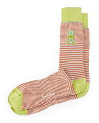 Micro Striped Socks Lime Orange Pink Psycho Bunny