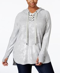 Melissa Mccarthy Seven7 Trendy Plus Size Metallic Hoodie Heather Grey