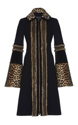 Andrew Gn Wool Coat With Leopard Trim Black