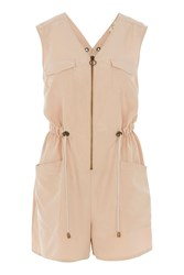 Jaded London Nude Lace Up Back Utility Playsuit By Nude