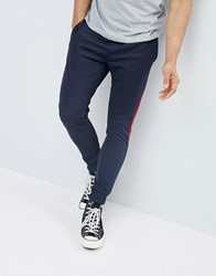 Pull And Bear Pullandbear Joggers With Side Stripe In Navy