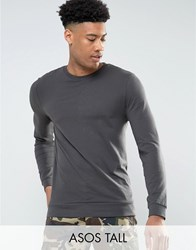 Asos Tall Lightweight Muscle Sweatshirt In Washed Black Bal