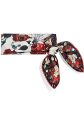 Dolce And Gabbana Floral Print Silk Twill Scarf Ivory