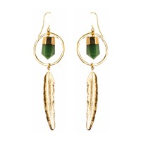 Tiana Jewel Feather Canyon Green Quartz Hoop Earrings Gold