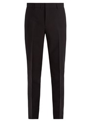 Saint Laurent Slim Leg Mohair And Cotton Blend Trousers Black