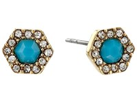 Rebecca Minkoff Pave Gem Stud Earrings 12K With Turquoise And Crystal Earring Gold
